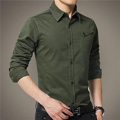 DALAI Warm Army Green Long Sleeve Shirt Slim Mens Shirt (Color : As Shown,