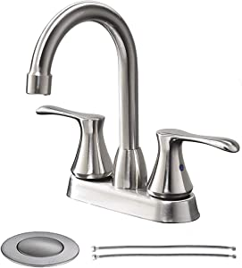 Comllen Double Handle Brushed Nickel Basin Vanity Bathroom Sink Faucet, Stainless Steel Lavatory Faucet with Pop Up Drain and Faucet Supply Lines
