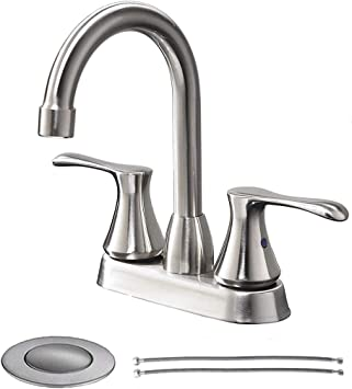 Lavatory Vanity Sink Faucet With Water Supply Hoses SHACO Commercial Modern Stainless Steel Single Handle Brushed Nickel Bathroom Faucet