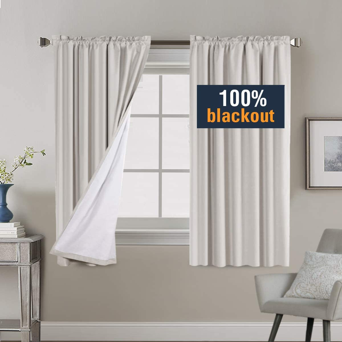 Waterproof Thermal Insulated Rod Pocket Cotton Finishing Curtains 100/% Blackout Grey Curtains for Bedroom 63 inch Long 2 Bonus Tie-Backs Window Curtains Panels for Kids Room 2 Panels