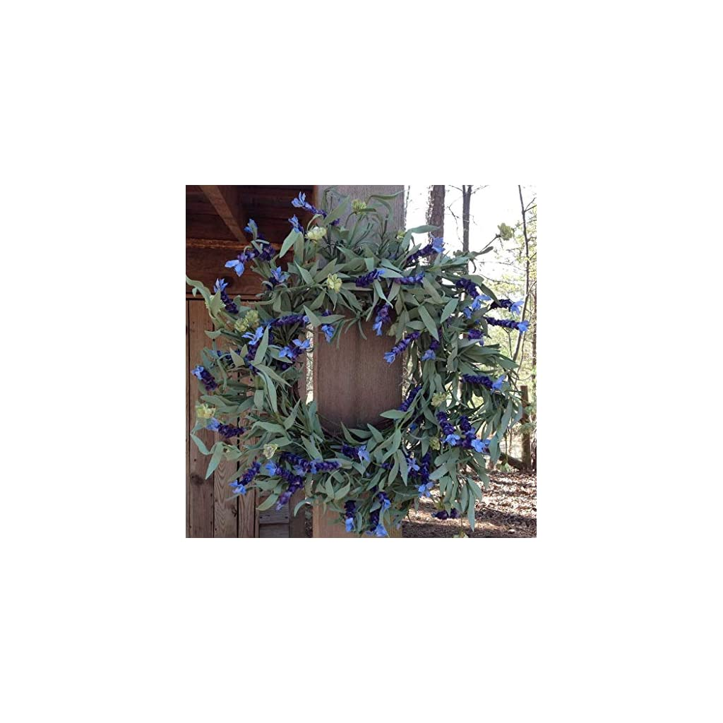 Lavender Fields Wreath 22-24″ Handcrafted on a Sturdy Grapevine Base, Packed with Beautiful Blue Purple Lavender Flowers and Green Leaves. Great Year Round Wreath.