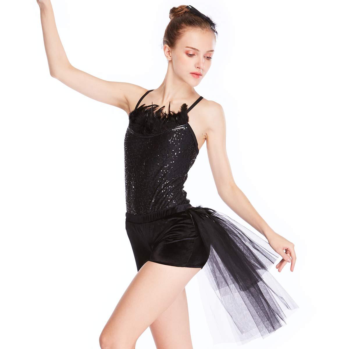 09c304ec169b Amazon.com  MiDee Dance Costume Jazz Biketard 2 Pieces Camisole ...