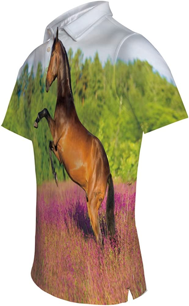 iPrint Adult Mens Composition Girl on Pony Ornaments Leaves Polo Shirt