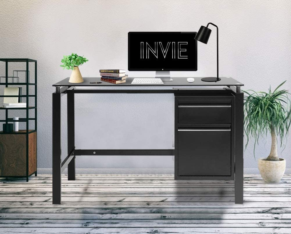 "INVIE Home Office Table 46"" Desk Computer Workstation with Drawers Glass Top"