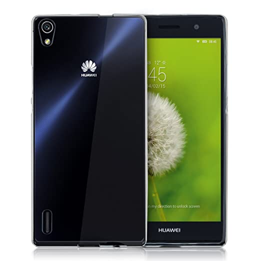 kwmobile Funda para Huawei Ascend P7 - Carcasa Protectora de [TPU] para móvil - Cover [Trasero] en [Transparente]