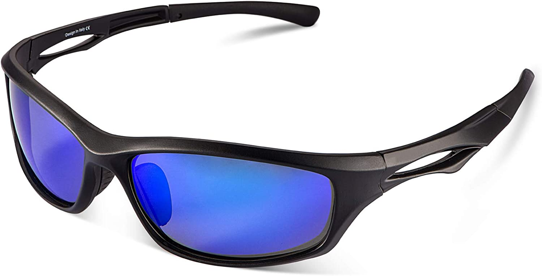 Carfia Gafas de Sol Deportivas, Gafas de Sol Deportivas Unisex Polarizadas con 100% Prtección UV400 para Viaje y Depoete al Aire Libre