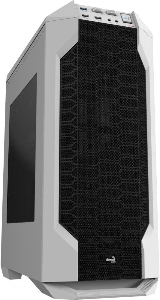 Aerocool LS5200W - Caja gaming para PC (ATX, Semitorre, incluye ventilador trasero 12 cm, 7 ranuras de expansión, hasta 6 ventiladores, ventana transparente, USB 2.0/3.0, Audio HD), color blanco