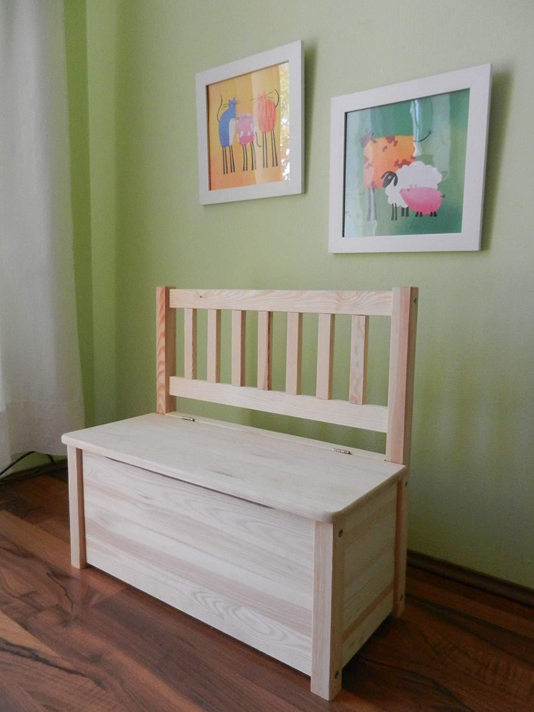 Kindersitzbank mit Stauraum und Hydraulikfeder unbehandeltes Massivholz keine