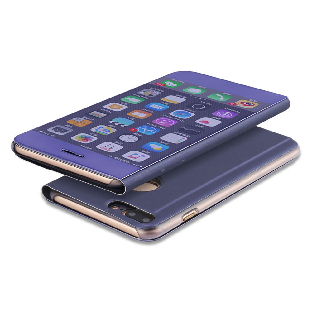 DasKAn Electroplate Mirror Flip Case for iPhone 7//8 Smart Clear View Window Plating Hard PC Phone Cover Slim Folio Hybrid Kickstand Full Body Protective Case for iPhone 7//iPhone 8,Black