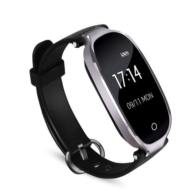 Reloj Actividad Inteligente para Mujer con Bluetooth 4.0, Impermeable Contador de Calorias y Pasos,