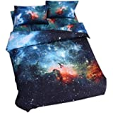Babycare Pro 3D Galaxy Bedding Sets Full Size for Teen Kids, Galaxy Duvet Cover/ Comforter Cover 4-Piece (Galaxy A, Full)