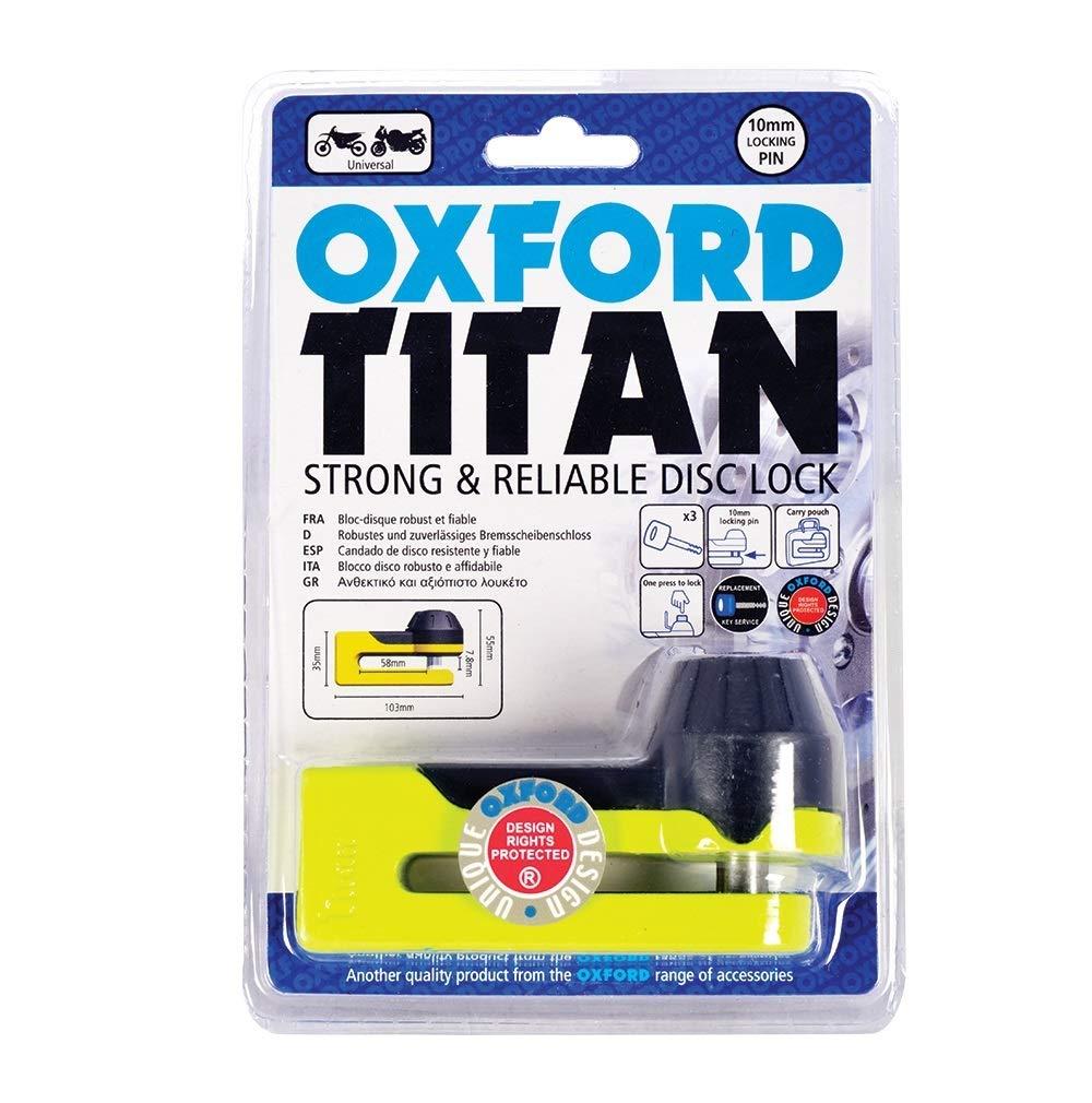 Oxford OF51 Titan Disc Lock with Yellow 10mm Locking Pin OF39