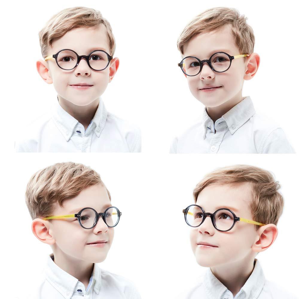 ungeschliffen und rund f/ür Jungen M/ädchen Kinder Kids Brille Teenager Gestell Fassung schick biegsam niedlich Brillenrahmen Gl/äser klar Alter 5-12 Jahre