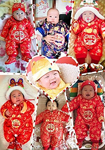 d5044d40d CRB Fashion Baby Newborn Boy Girls Chinese New Year Asian Shirt Clothes Top  Pants Trousers Romper + Hat Outfit Suit Set (Red Flowers, 5 to 8 Months):  ...
