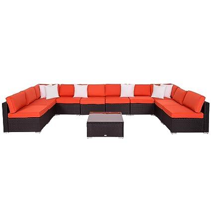 Kinbor Outdoor Patio PE Rattan Wicker Furniture Sectional Sofa Set (Orange-  11 PC Wicker Sofa)