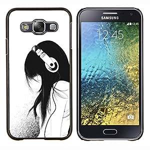 Muchacha de la música Auriculares minimalista Sad- Metal de aluminio y de plástico duro Caja del teléfono - Negro - Samsung Galaxy E5 / SM-E500