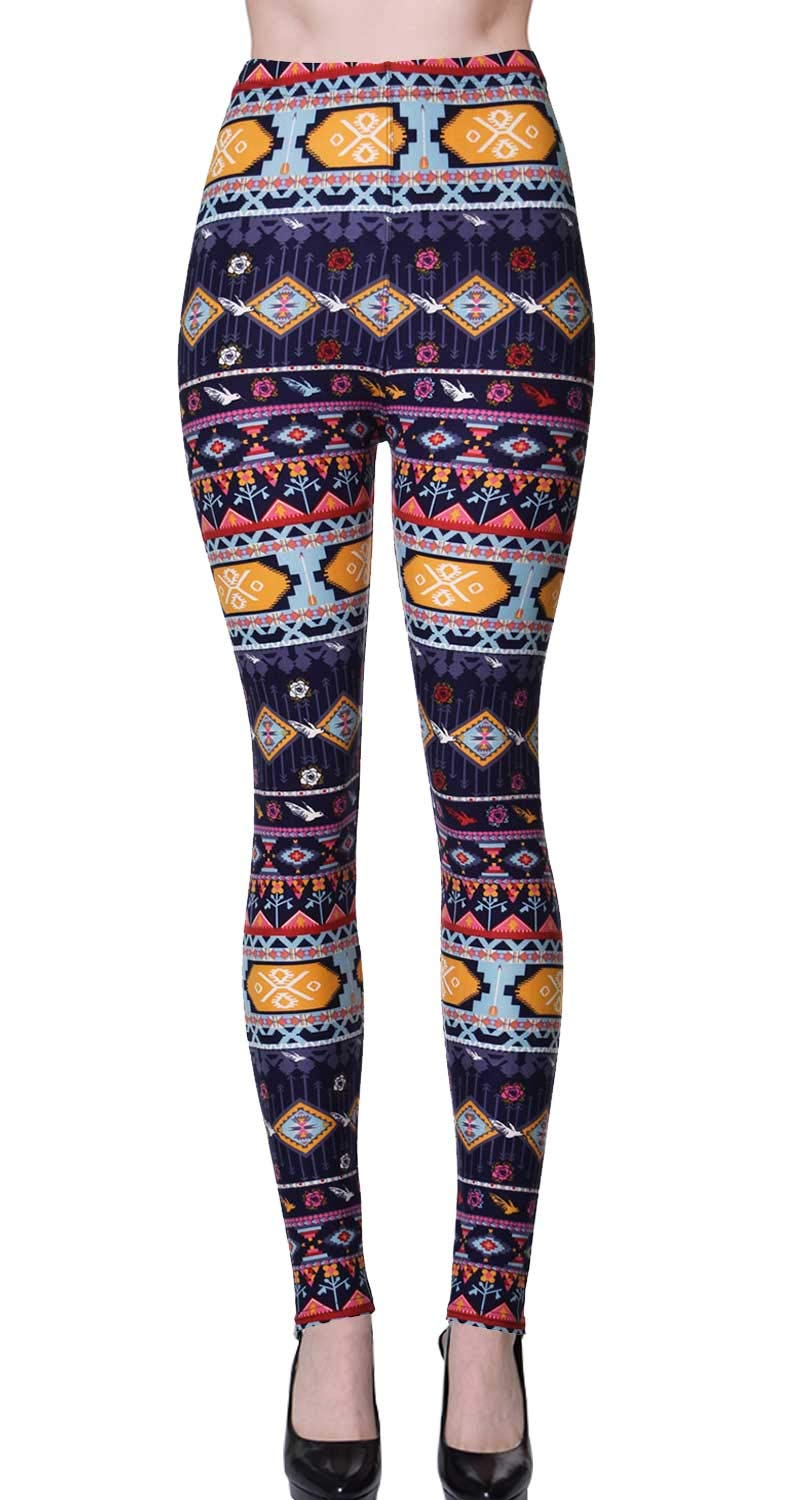 VIV Collection Plus Size Printed Brushed Ultra Soft Leggings (Patterned Strings)