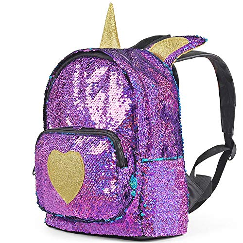 (Mini Backpack for Girls Sparkle Flip Reversible Sequin Backpack Glitter Fashion Mermaid Bag Unicorn Backpack Purse Cute and Fun for Zoo Park Travel Beach and Daily Use)