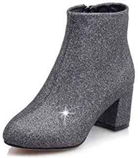 7e0f297f574 Summerwhisper Women s Elegant Glitter Sequins Almond Toe Bridal Booties  Side Zipper Mid Block Heel Ankle Boots