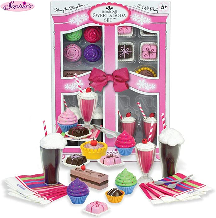 "Sophia's Complete 27 PC Doll Accessory Food Set, 15 Sweet Treats & Spoons & Paper Napkins, 18"" Doll Pretend & Doll Accessory Play Set; Floats, Shakes, Cupcakes & More in Decorative Keepsake Box"