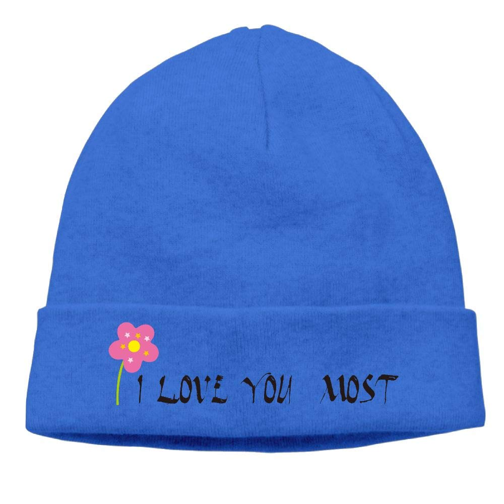 nordic runes I Love You More Logo Beanie Hat Winter Warm Knit Skull Cap for Mens//Womens
