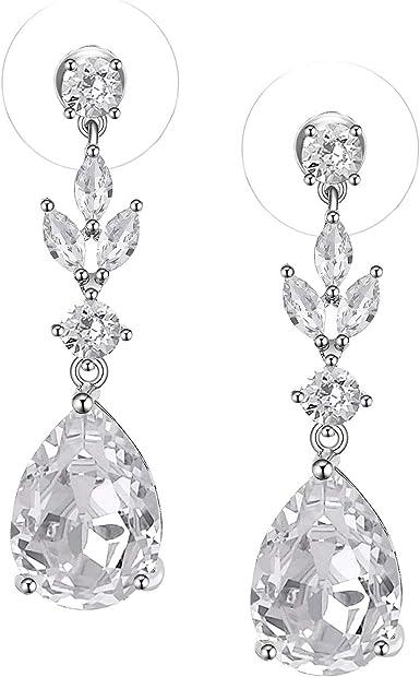 Vintage Wedding Earrings Drop Earrings Dangle Earrings Wedding Tear Drop Earrings Bridal Jewelry CZ Earrings UK Seller Crystal Earrings
