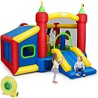 COSTWAY Château Gonflable Aire de Jeux en Nylon et Oxford avec Toboggan Panier Boules Sac et Gonfleur pour Enfants 380 x 305 x 215 CM