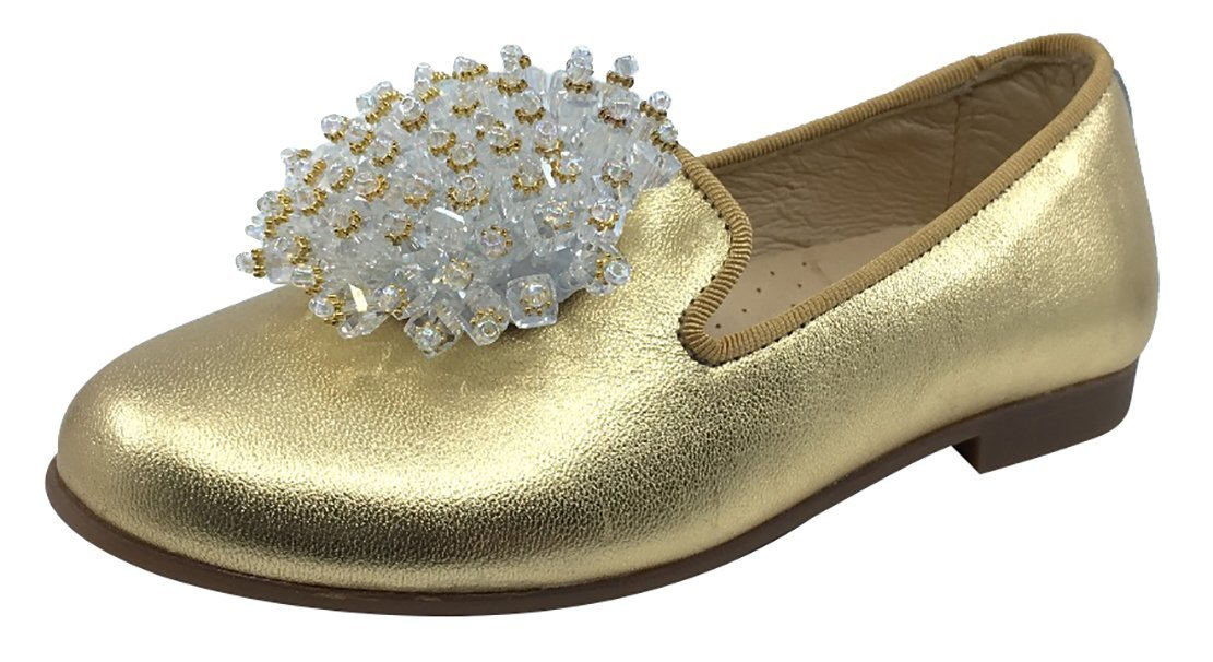 Andanines Girl's Smoking Loafer with Ornament (Gold, 28 M EU/10.5 M US Little Kid)