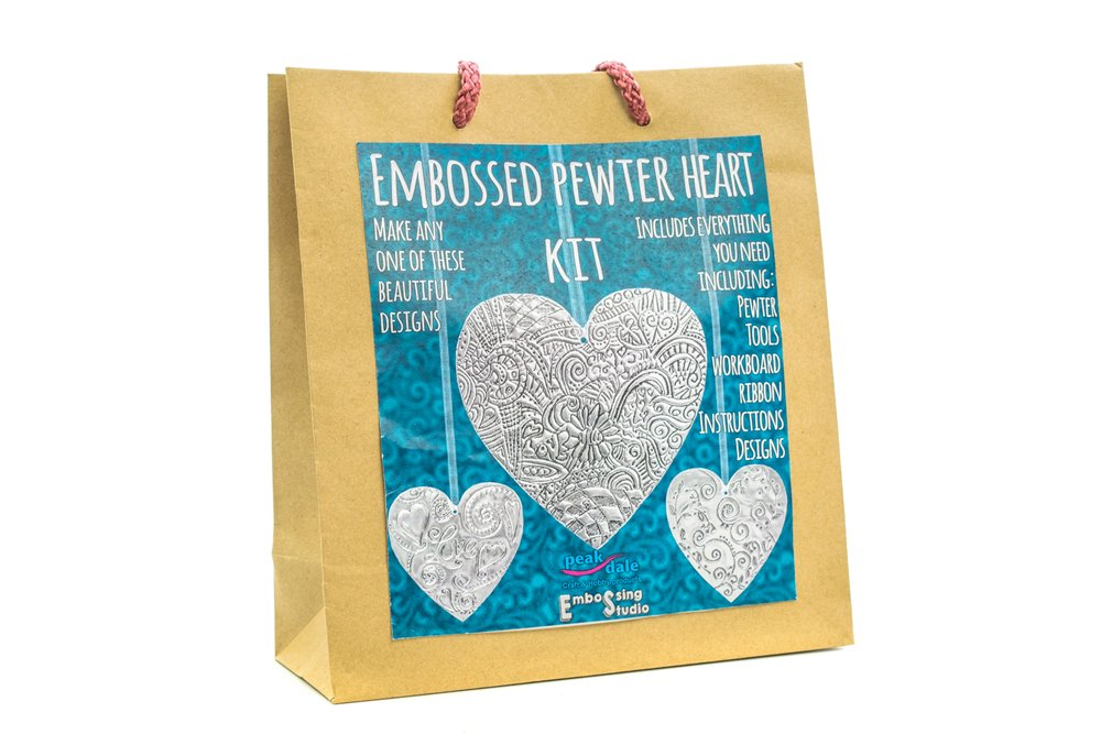 Peakdale Metal Embossing Craft Kit Set Pewter Heart Amazon
