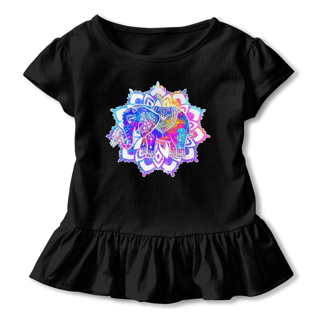Beautiful-card-vector-13575772 Toddler Baby Girls Short Sleeve ONeck Basic Shirts with Printed Designs in Front for School Birthday Party Gifts Ruffles Top Black