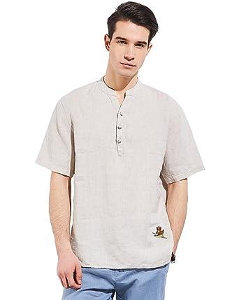 c4d94b75be6d UAISI Herren Kurzarm Leinen Hemd Slim Fit mit Unterschiedlichen Stickereien  Freizeit Party Business Shirt für Männer