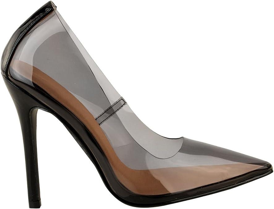 Womens Ladies Perspex Clear Court Shoes Stiletto Hologram High Heels Kim K Pumps