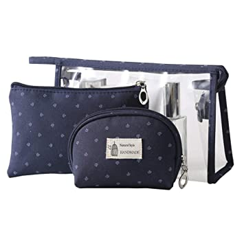 0ff2fea97bcc SparkLia 3 Pieces PVC Travel Toiletry Bag Cosmetic Bags Organizers Makeup  Bags with Zipper for Men s