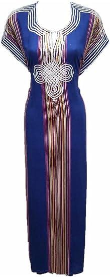 Robe Orientale Gandoura Maroc Dubai Bleu Roi Amazon Fr Vetements Et Accessoires