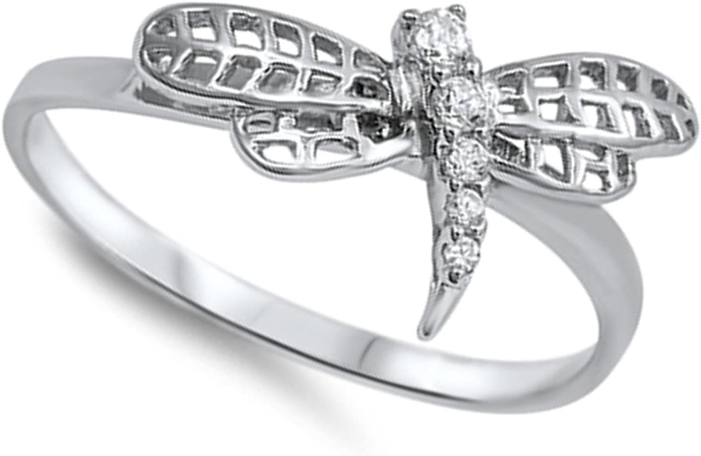 Clear CZ Dragonfly Animal Cutout Ring New .925 Sterling Silver Band Sizes 4-10