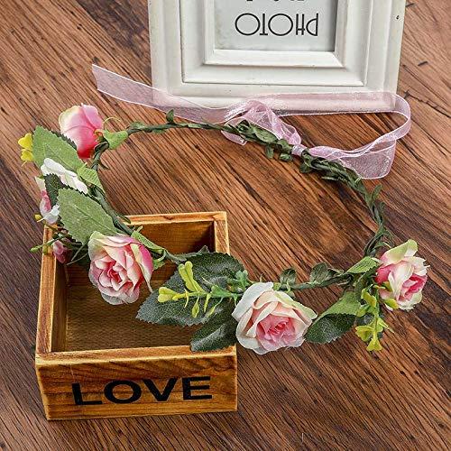 Summer Women's Bohemian Handmade Corolla Ceaddress Garland Wedding Holiday Flower Circle Headdress Hair Accessories Pink