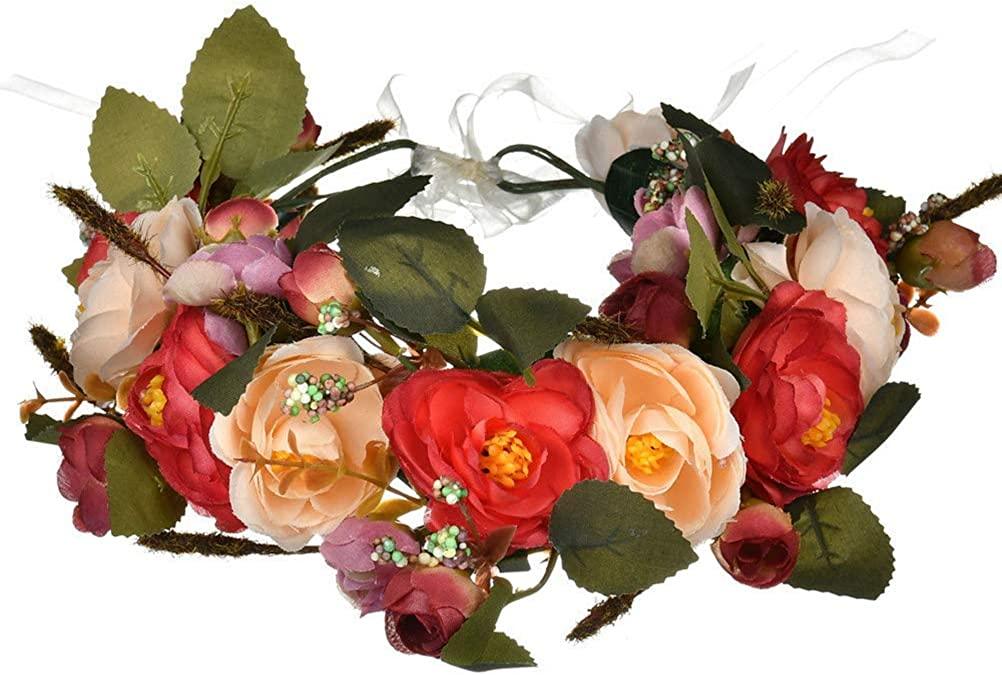 Vivivalue Adjustable Flower Headband Hair Wreath Floral Garland Crown Halo Headpiece with Ribbon Boho Wedding Festival