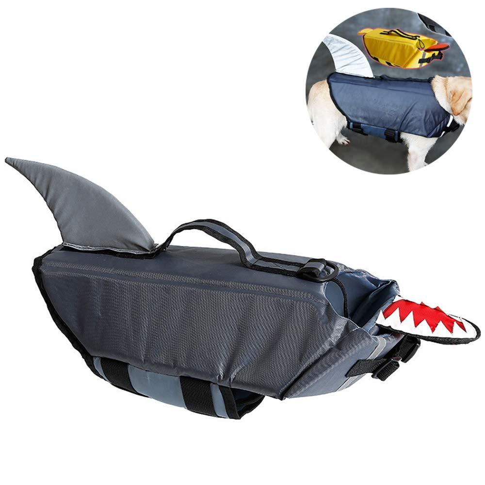 WYQWANLJX Shark Pattern Dog Saver Life Jacket Adjustable Dog Swimming Vest Safety Lifesaver Vest Pet Float Coat,Gray,S