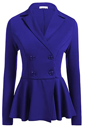 a88edc709e7 Befily Womens Work Office Open Front Blazer Casual Long Sleeve Jacket with  Buttons Blue