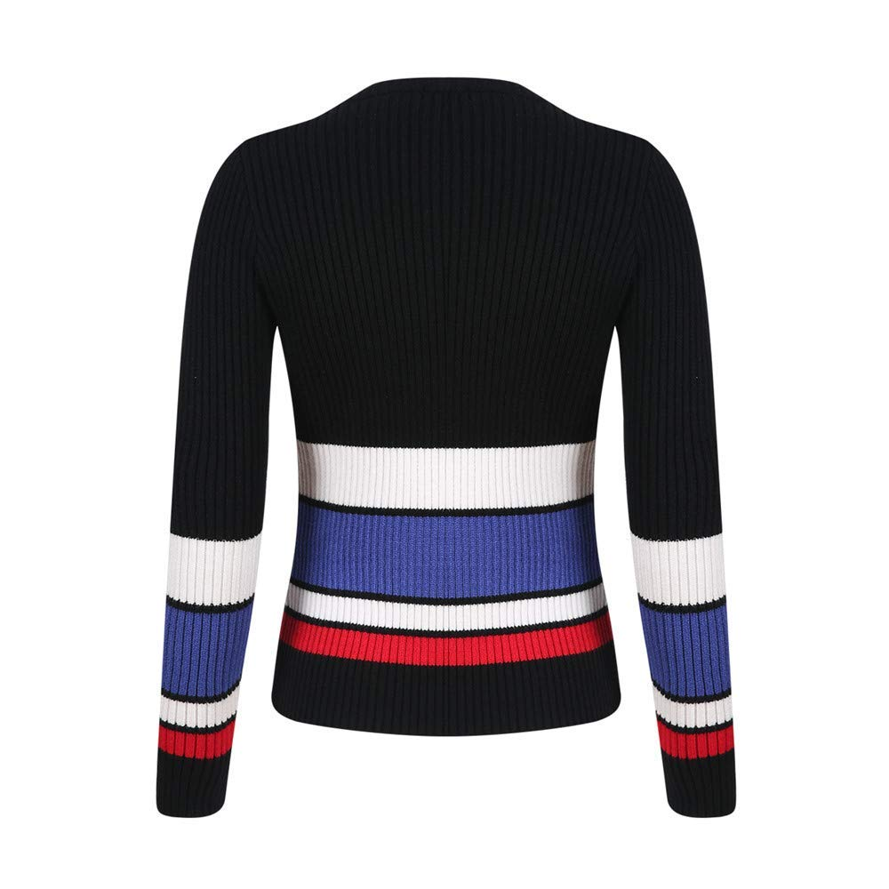 Armeegreen Lady Clothing Womens Sweater Autumn Winter Casual Slim Fit Stripe Coat Tops Fashion Cosy Wild Tight Super Quality Black White for Womens (color   blue, Size   L)
