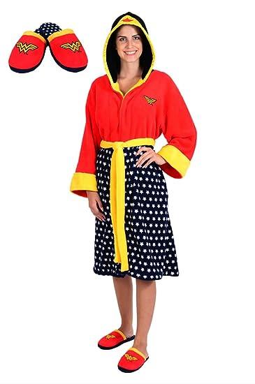 DC Comics Wonder Woman Stars Hooded Cosplay Fleece Robe and Slipper Set (OSFM)
