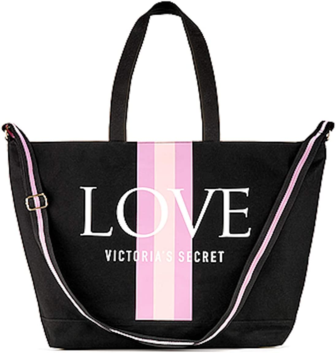 Victoria/'s Secret Beach Large Weekend Travel Tote Bag Pink//White Stripe
