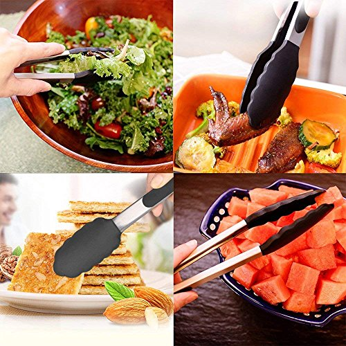 Three-PieceKitchen Tongs-7, 9, 12 Inch, Heavy Duty, Non- Stick, Stainless Steel Silicone BBQ/Kitchen Tongs (Can Also be Used as BBQ Turners)-Blue