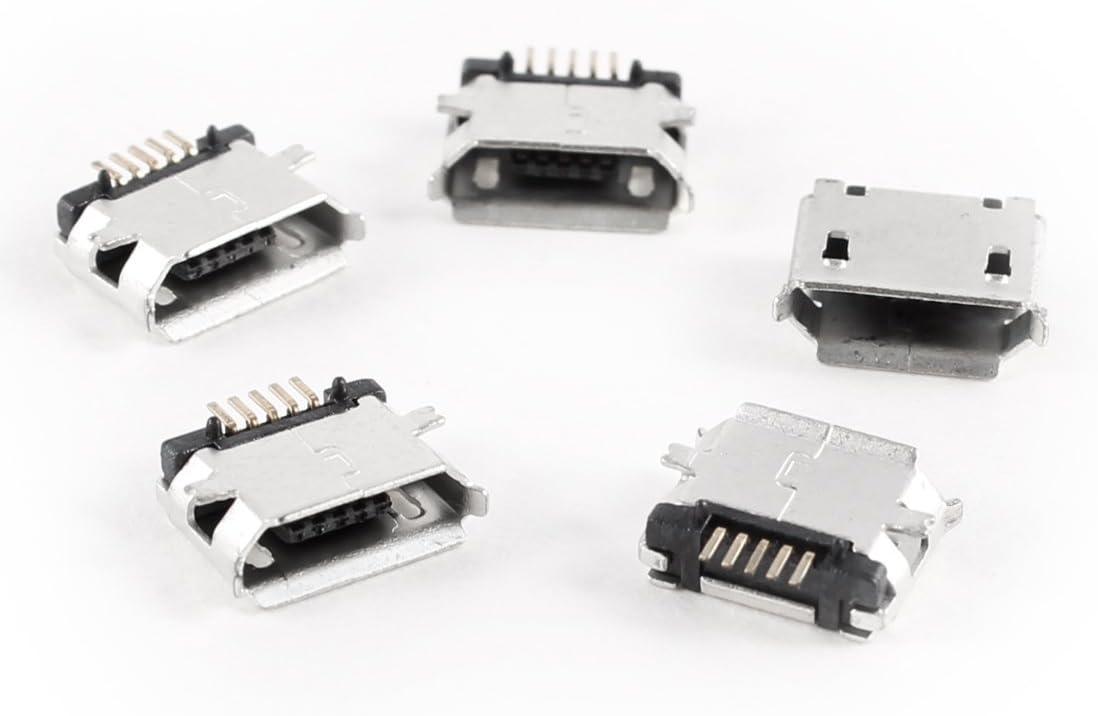 HHTL-5 Pcs mini USB Type B Female Socket 180 Degree 5-Pin SMD SMT Soldering Jack Davitu Electrical Equipments Supplies