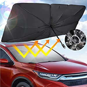 JoyTutus Sedan SUV Car Windshield Umbrella with Safety Hammer, Keep Your Car Cool Car Sun Umbrella, Foldable Car Sun Shade for Front Windshield Umbrella, Easy to Store and Use,56''x 31''
