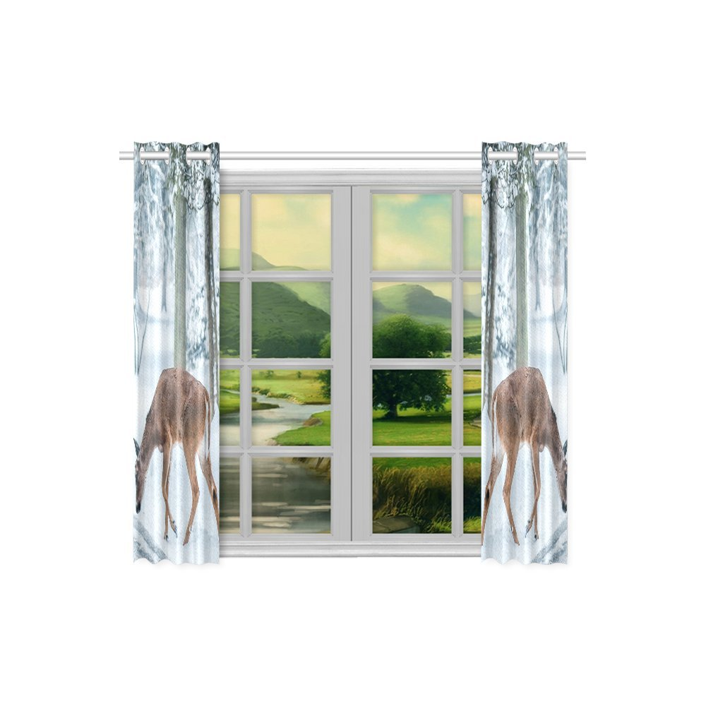 your-fantasia Christmas Deer Street Snow Winter Nature Animal Window Curtain Kitchen Curtain Two Pieces 26 x 39 inches by your-fantasia (Image #3)