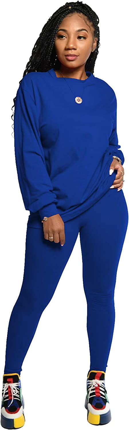 Women Cute Two Piece Outfits Winter Sweatsuits Pant and Sweater Set Sport Suits Top and Bottom Outfit Solid Color Blue S