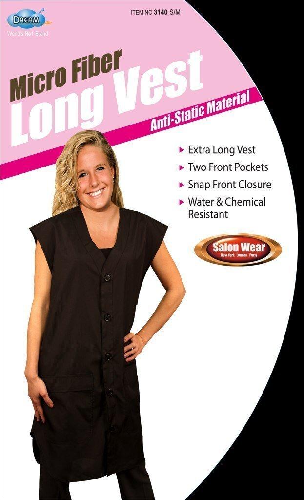 Dream Microfiber Long Vest Anti Static Material Salon Wear Black Medium 3140 2 pack