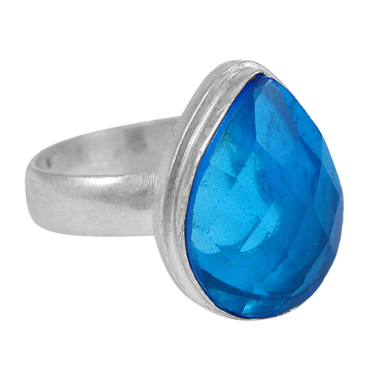 Silvestoo Jaipur Blue Quartz Gemstone 925 Silver Plated Ring Size 8.25 PG-132717