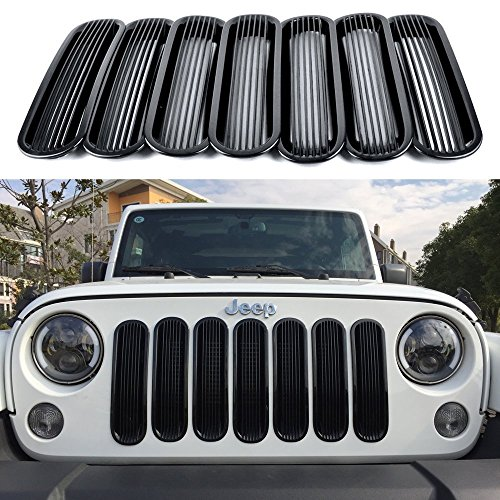 Bolaxin New Cool Bars Style Black Trim Grill Insert Cover Mesh Frame for 2007-2016 Jeep JK Wrangler - 7 - Trim Grille Bar